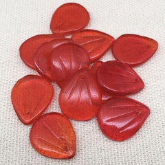 12 Vintage Translucent Red German Petal Glass Beads