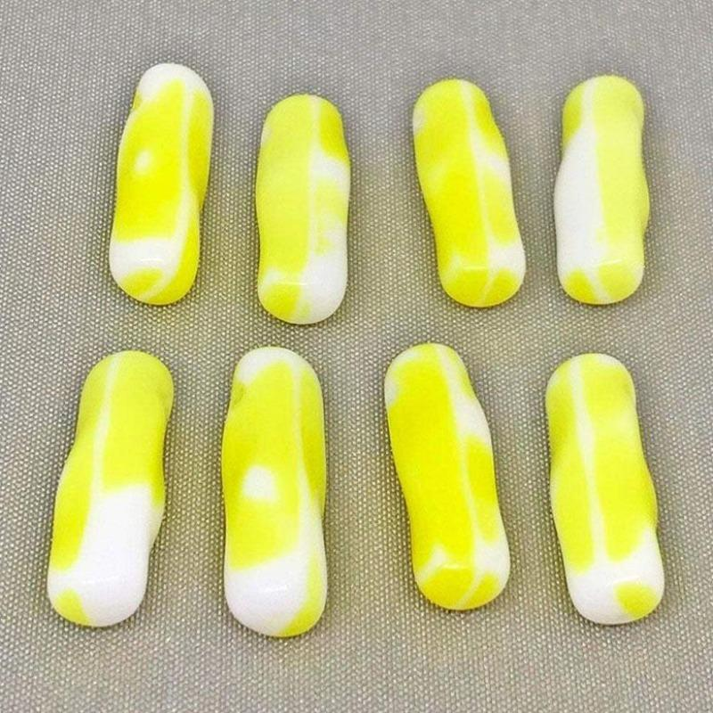 10 Vintage White Yellow German Drop Glass Beads