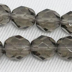 25 Black Diamond Czech Faceted Glass Beads