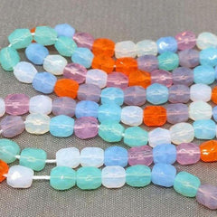 100 Mixed Opalescent Czech Faceted Glass Beads