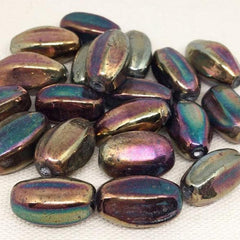 10 Vintage Handmade Metallic Oval Glass Beads