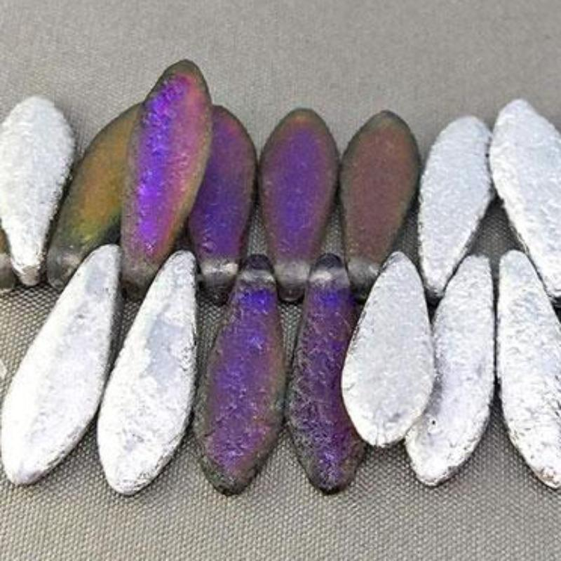 25 Matte Etched Silver Czech Dagger Glass Beads