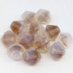 12 Vintage Opalescent Brown Givre German Bicone Glass Beads
