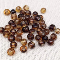 50 Vintage Yellow Brown Striped Japan Round Glass Beads