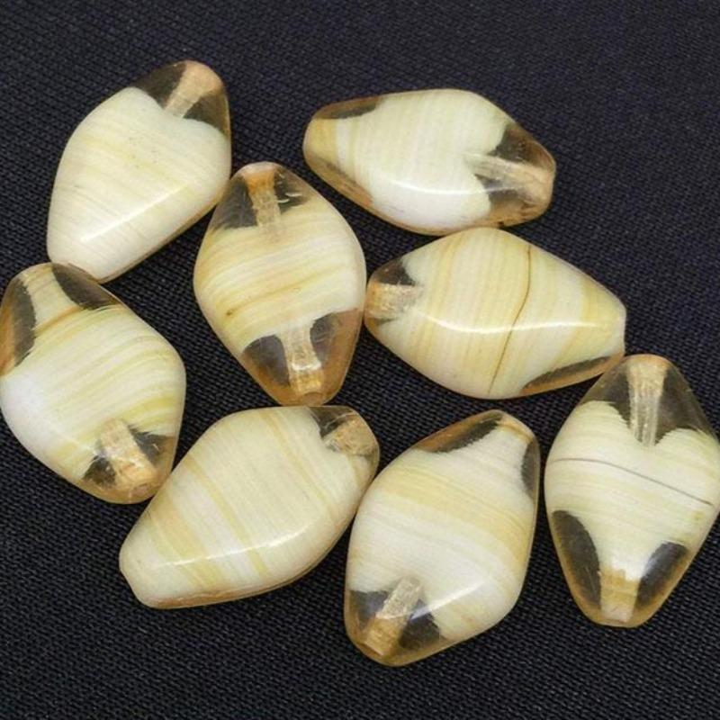 10 Vintage Cream Golden Yellow Striped German Glass Beads