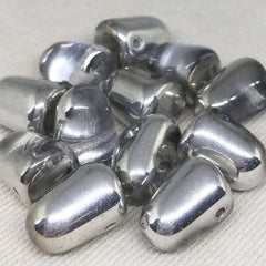 6 Clear Silver Czech Gumdrop Glass Beads