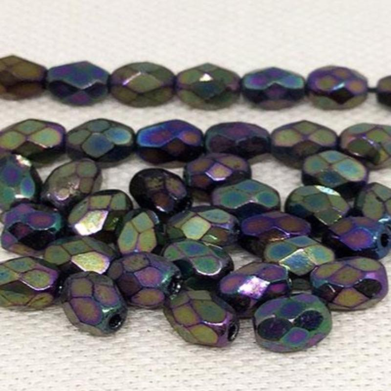 50 Iris Metallic Czech Faceted Oval Glass Beads