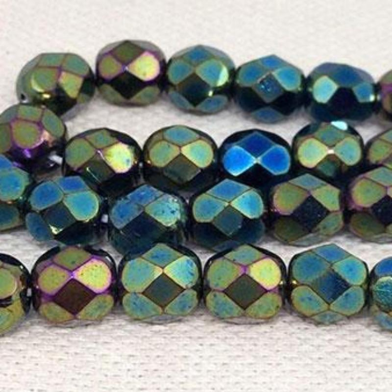 50 Metallic Green Iris Czech Faceted Glass Beads