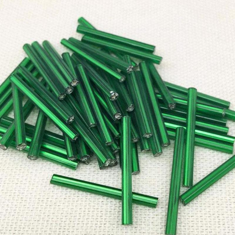 10g Vintage Metallic Green Czech Bugle Glass Beads