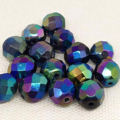 20 Metallic Iris Czech Faceted Glass Beads