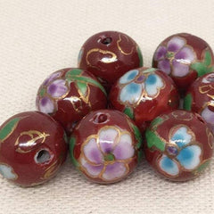 10 Vintage Red Porcelain Round Beads