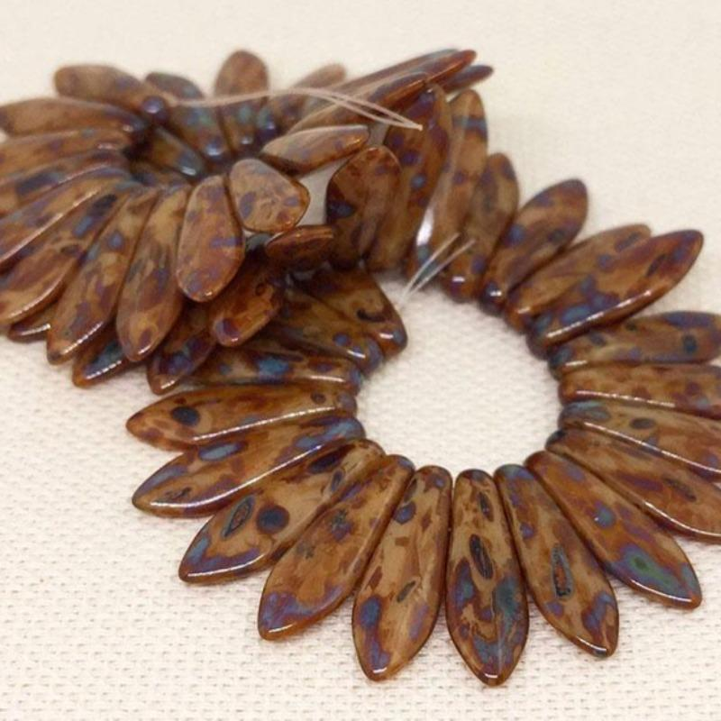 50 Brown Picasso Czech Two Hole Dagger Glass Beads