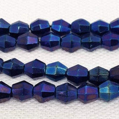50 Vintage Blue Metallic Czech Faceted Bicone Glass Beads