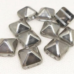 6 Clear Silver Czech Two Hole Stud Glass Beads 12mm