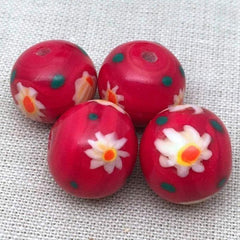 4 Vintage Cherry Red Japan Millefiori Round Glass Beads