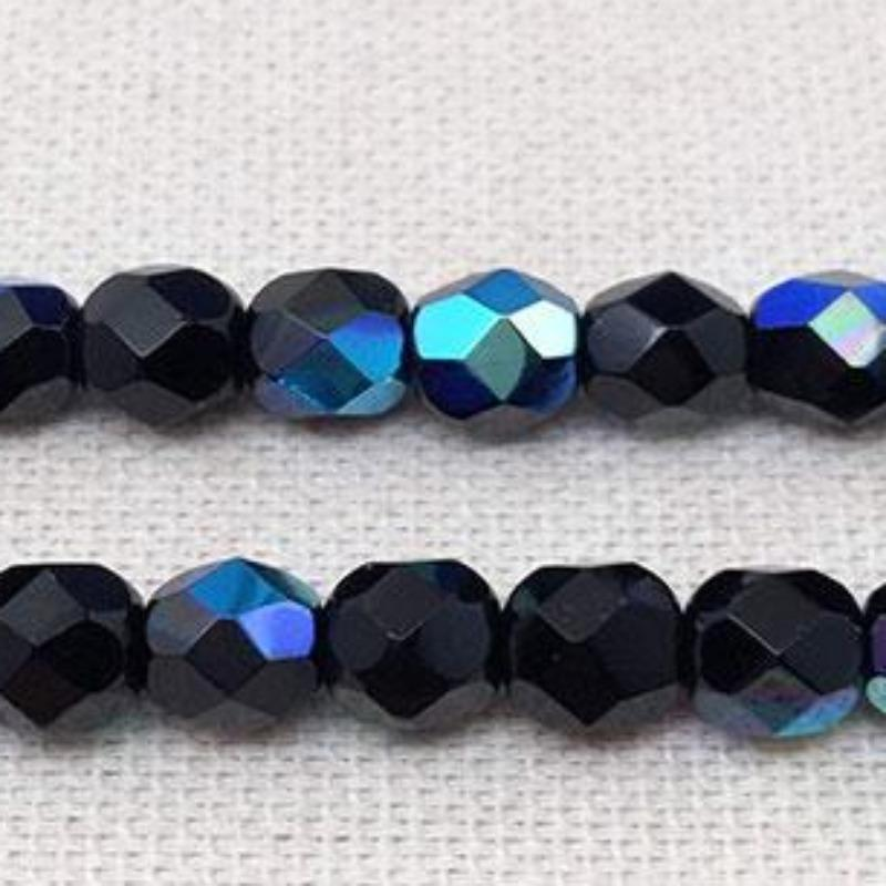 50 AB Black Czech Faceted Glass Beads