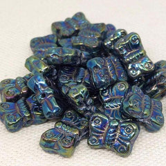 25  Iris Blue Czech Butterfly Glass Beads
