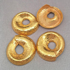 4 Vintage Hammered Russian Gold Plated Round Metal Stampings