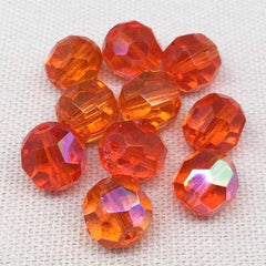 10 AB Translucent Orange German Faceted Glass Beads