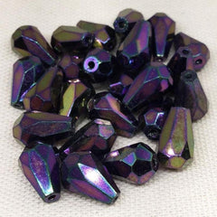 25 Purple Iris Metallic Czech Faceted Teardrop Glass Beads