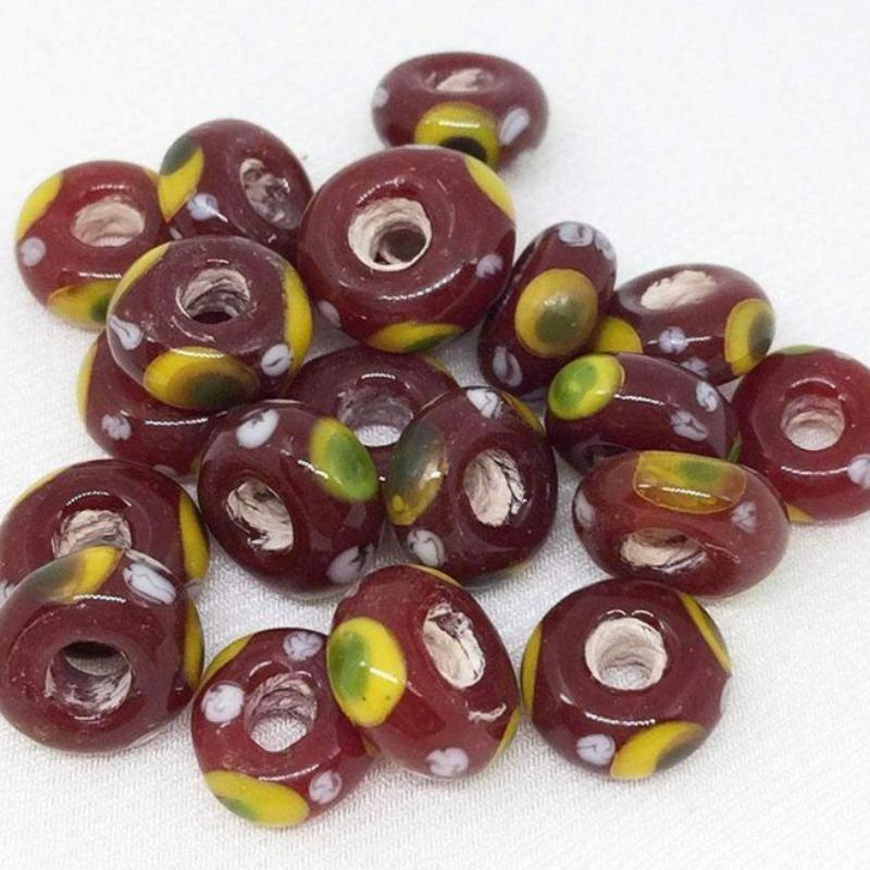 10 Vintage Handmade Maroon Red African Ring Glass Beads