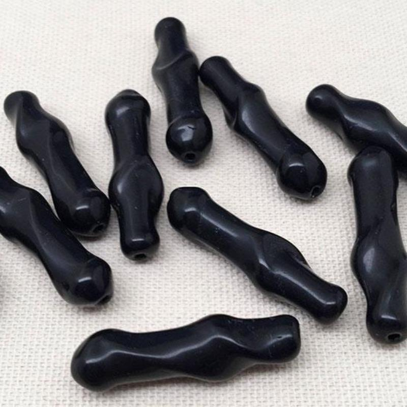 8 Vintage Jet Black Baroque Stick Glass Beads