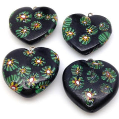 4 Vintage Black Green Millefiori Heart Glass Pendants