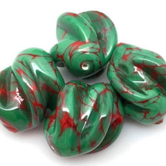 1 Vintage Handmade Green Red Italian Glass Bead