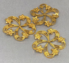 2 Vintage Solid Brass Fancy Metal Findings