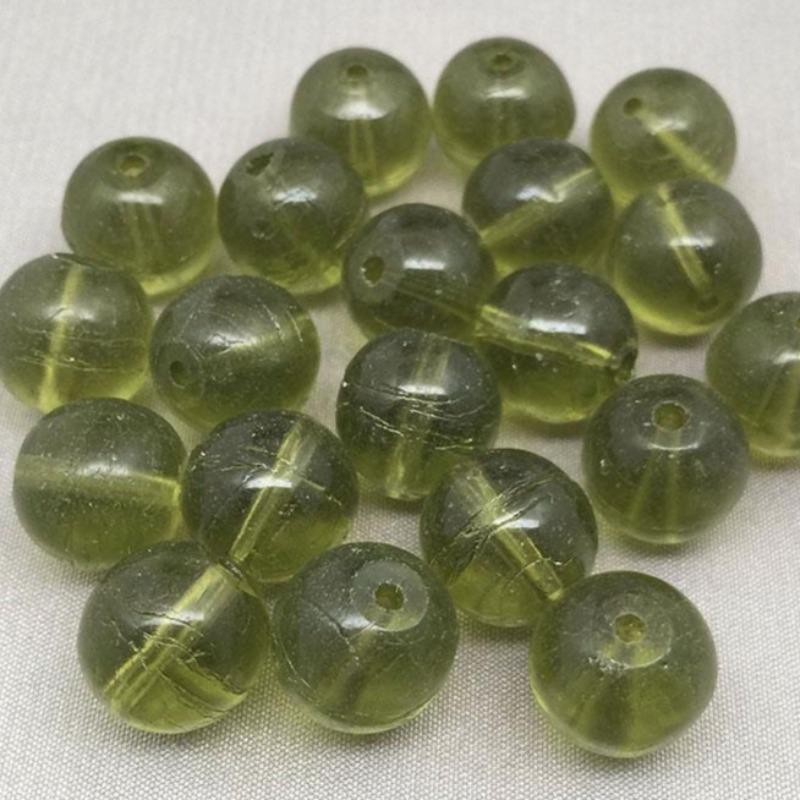 20 Vintage Olive Green Round Glass Beads