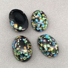 2 Vintage Black Foil Japan Oval Glass Cabochons 17mm