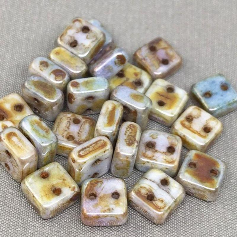 25 Two Hole Chexx Czech Picasso Glass Beads Square 6mm