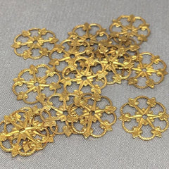 10 Vintage Fancy Brass Filigree Metal Findings 13mm