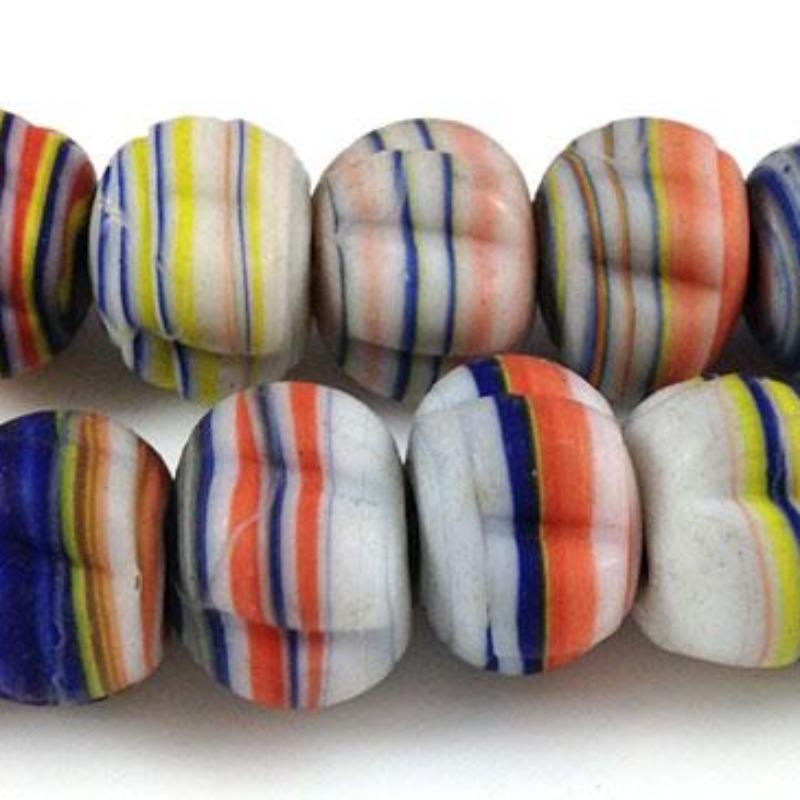 2 Vintage Handmade African Striped Glass Beads