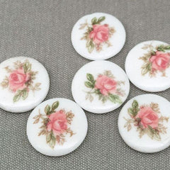 4 Vintage White Pink Floral Round Glass Cabochons