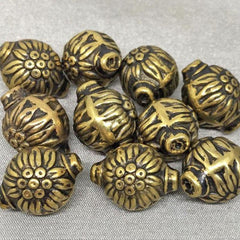 10 Vintage Gold Acrylic Floral Beads