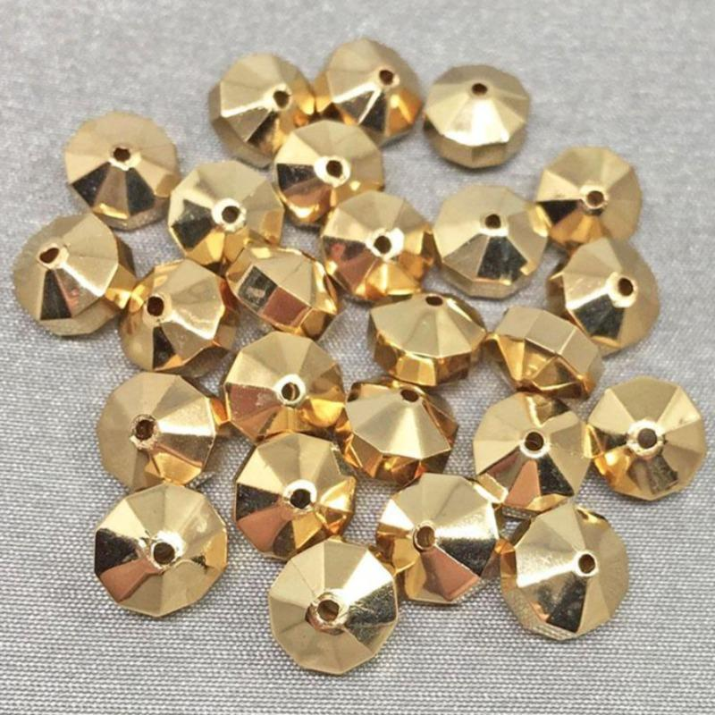 25 Vintage Coated Gold Metal Acrylic Rondelle Beads