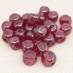 25 Red Czech Cube Glass Beads