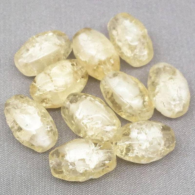 10 Vintage White Yellow Givre German Crackle Oval Glass Beads