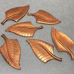 6 Vintage Solid Tombac Brass Metal Leaf Findings