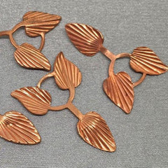 10 Vintage Copper Plated Tri Leaf Metal Findings