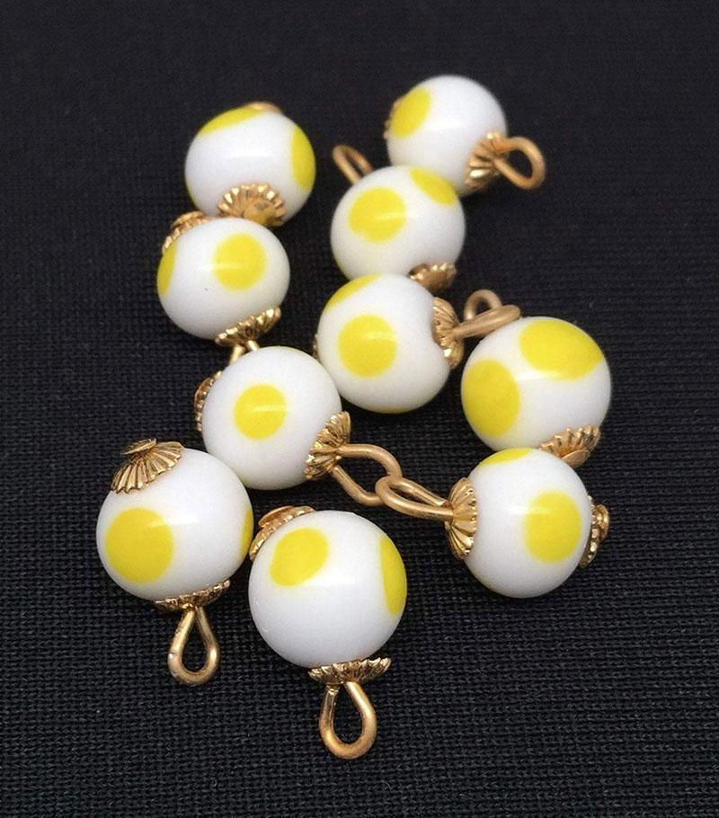 10 Vintage White Yellow Japan Polka Dot Glass Charms