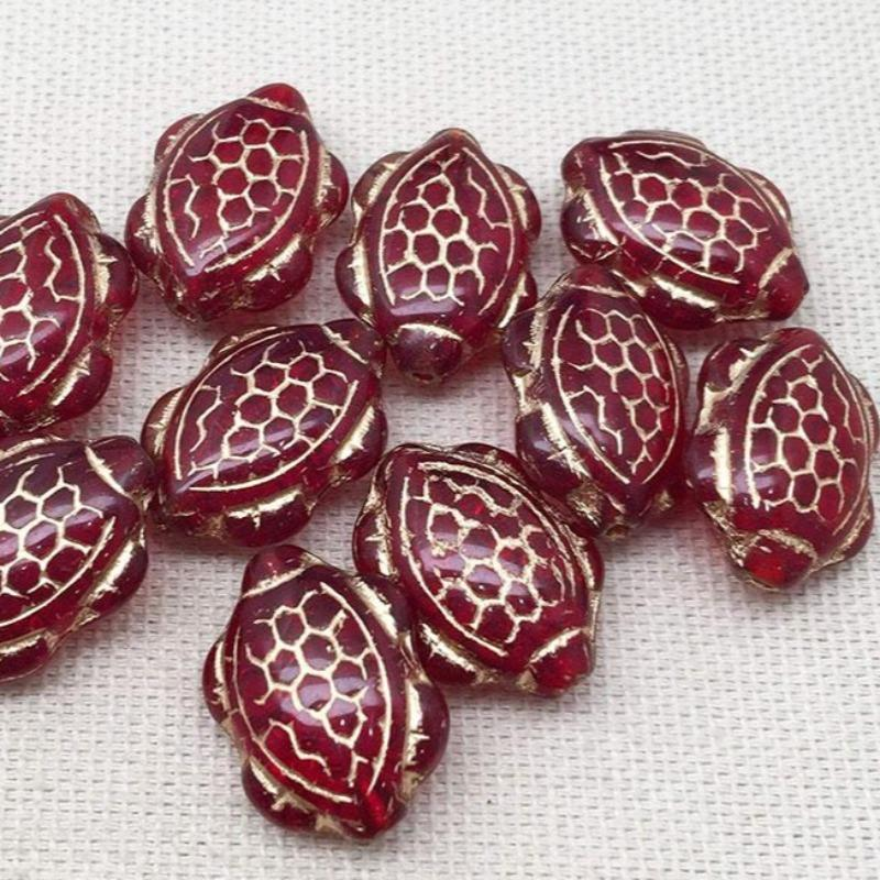 10 Red Gold Czech Turtle Glass Beads
