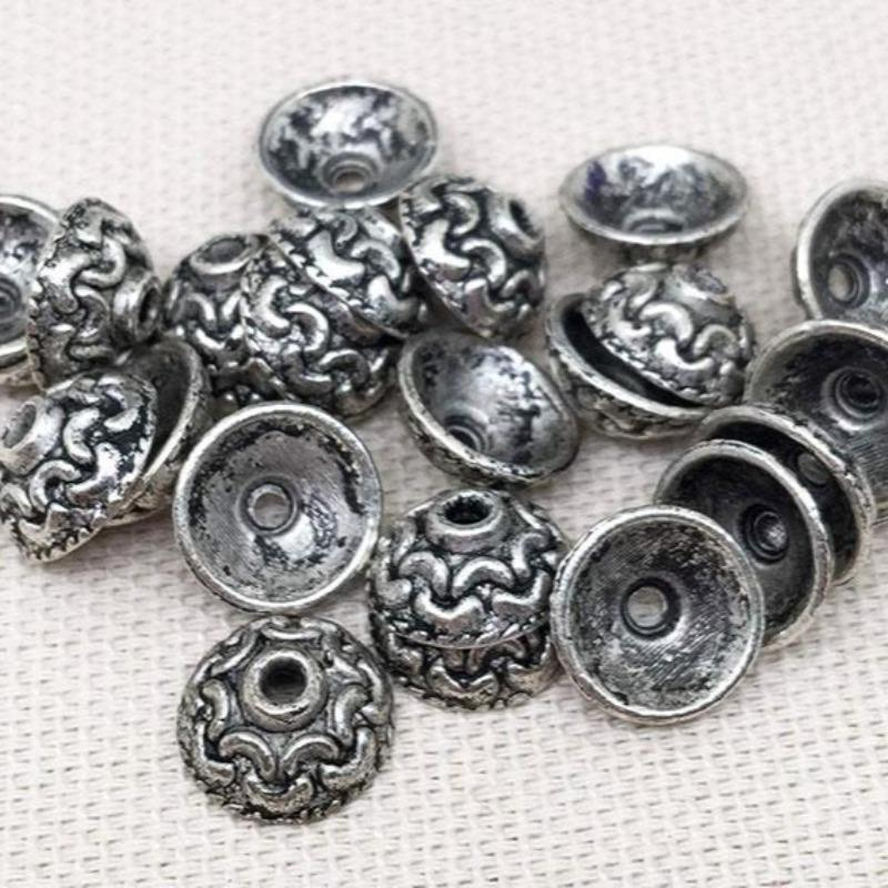 24 Antiqued Silver Plated Metal Bead Caps