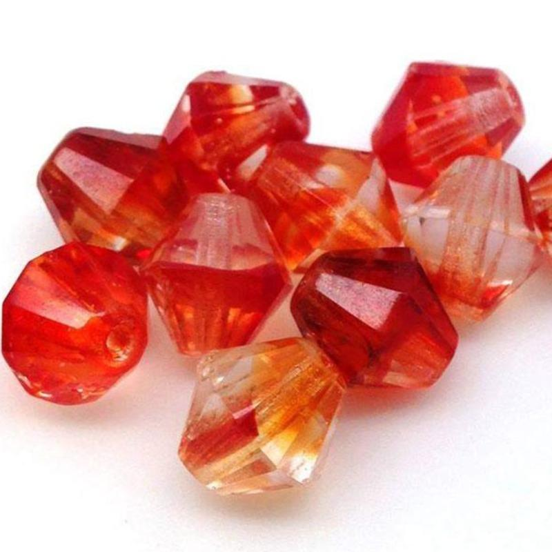 10 Vintage Fire Givre Orange Red German Bicone Glass Beads