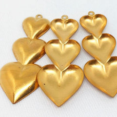 10 Vintage Tri Heart Brass Metal Pendants