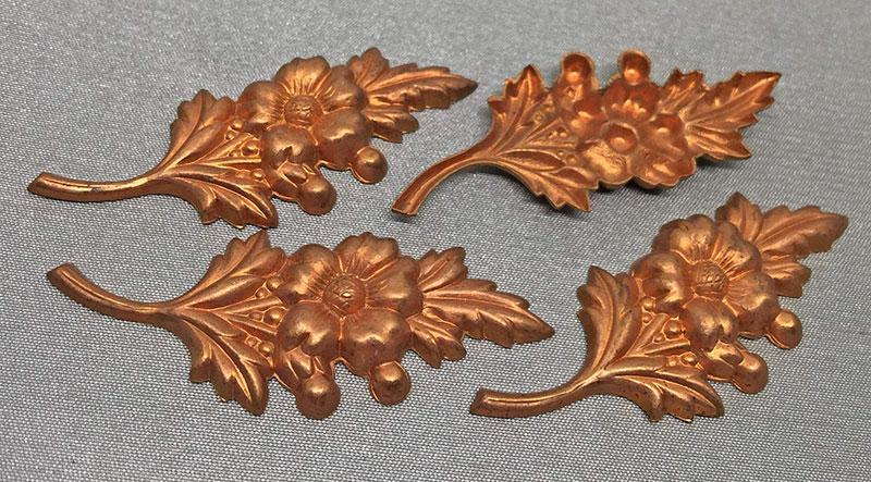 4 Vintage Fancy Floral Tombac Brass Metal Stamping