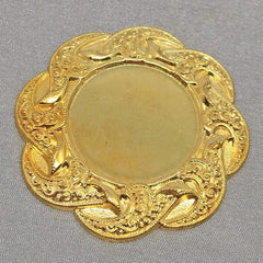 1 Vintage Gold Plated Brass Flower Metal Setting