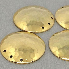 6 Vintage Plated Hammered Coin Disc Metal Charms