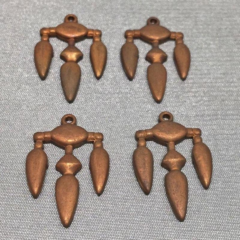 4 Vintage Cast Brass Metal Pendants